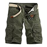 MODOQO Men's Cotton Cargo Shorts, Relaxed Fit Multi-Pocket Cotton Outdoor Wear(Army Green,29)