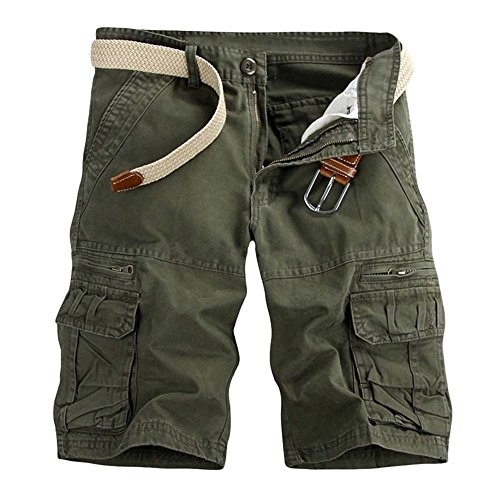 (Men's Classic Relaxed Fit Drawstring Cargo Shorts Zipper Pockets Solid Casual Loose Sport Pants Army Green)