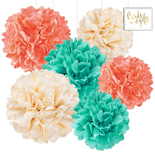 Andaz Press Hanging Tissue Paper Pom Poms Party Decor Trio Kit with Free Party Sign, Ivory, Coral, Diamond Blue, 6-Pack, For Baby Bridal Shower Decorations