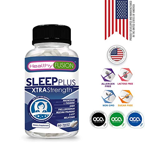 SLEEP PLUS XTRA STRENGTH - Powerful Sleep Aid with Pure Melatonin + Magnesium + L-Theanine + GABA + Phellodendron + Mucuna Pruriens - 100% Natural - Sleeping Pills for Adults Extra Strength - 60 Caps.