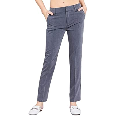 2LUV Women's Junior Solid Casual Straight Leg Long Woven Pants: Clothing