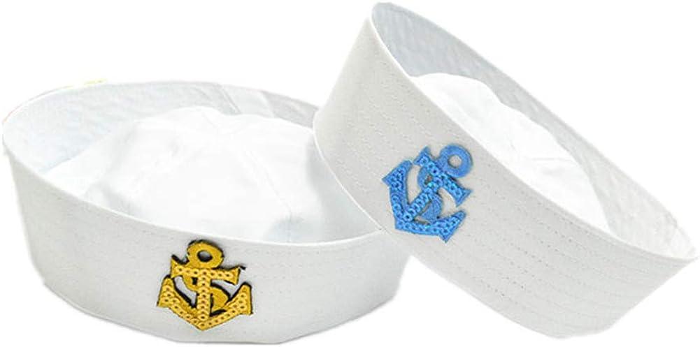 White Navy Hat Cap Sailors Ship Boat Captain Military Hat Marine Uniform Cap Stage Performance Hat for Women Men