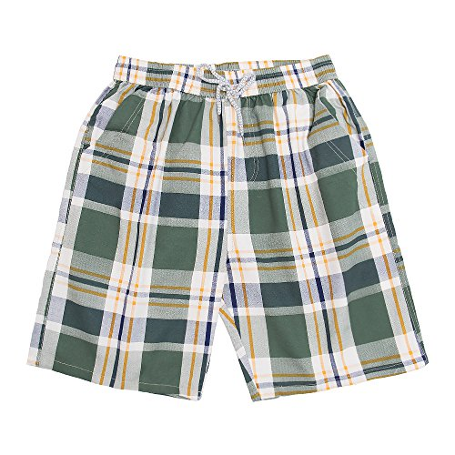 Men's Classic - Fit Cotton Checkered Printing Pleated Shorts with Drawstring Walk Medium by CORPS GEMA