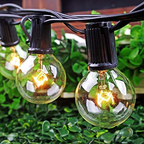 25Ft Outdoor Patio String Lights with 25 Clear Globe G40 Bulbs,UL Certified for Patio Porch Backyard Deck Bistro Gazebos Pergolas Balcony Wedding Gathering Parties Markets Decor, Black Wire (Nyc Outdoor Patios Best)