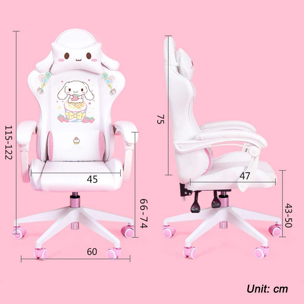Svängbar stol söt tecknad stol sovrum bekväm datorstol hem spel studierum stol med armstöd bekväm svamp justerbar höjd och vinkel, flickor snygg present nr 1