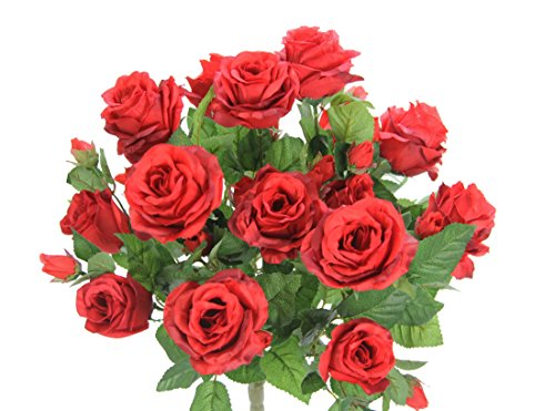 Admired By Nature GPB7338-DEEP RD 5 Stems Faux 15 Head Rose Bud Flower Bush, Deep Red ()