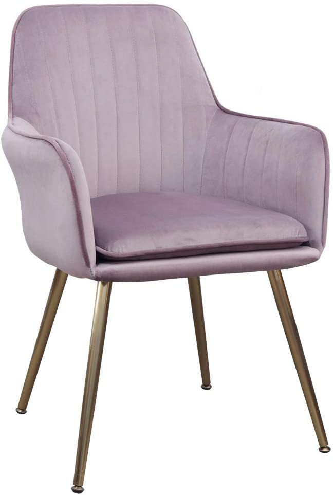 Accent Living Room Leisure Armchair Velvet Fabric Dining Chair with Golden Metal Legs (Dark Pink)
