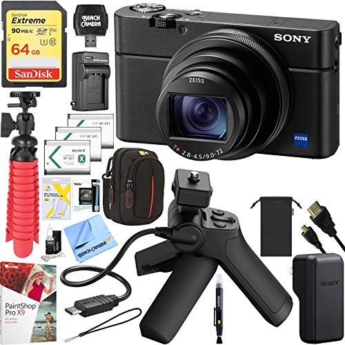 Sony Cyber-Shot DSC-RX100M6 RX100 VI Mark 6 20.2 MP 4K Compact Digital Camera with F2.8 - F4.5 Zeiss 24-200mm Lens with Grip and Tripod Case Memory Card Spare Battery Bundle