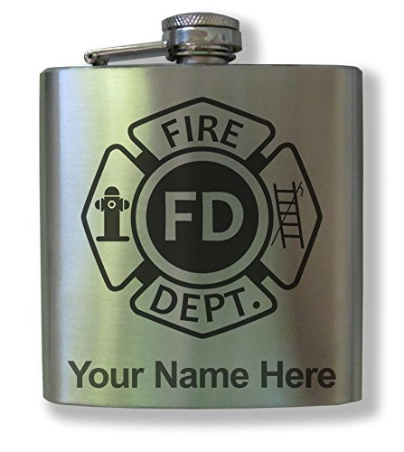 Personalized Stainless Steel Flask - FIRE DEPARTMENT SYMBOL