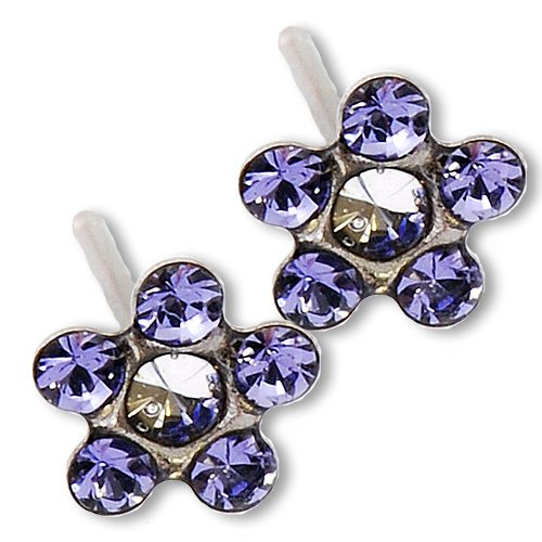 Ear Piercing Earrings Lilac Tanzanite Daisy Flower Silver Stud Studex System 75 Hypoallergenic