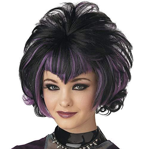 Fun Express - Wig Goth Flip Black Purple for Halloween - Apparel Accessories - Costume Accessories - Wigs & Beards - Halloween - 1 Piece