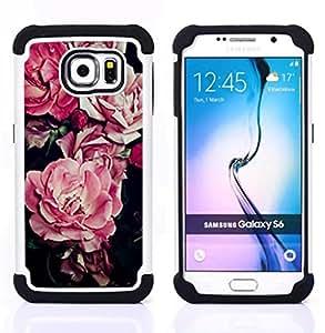 - begonia pink flower floral pattern black/ H??brido 3in1 Deluxe Impreso duro Soft Alto Impacto caja de la armadura Defender - SHIMIN CAO - For Samsung Galaxy S6 G9200