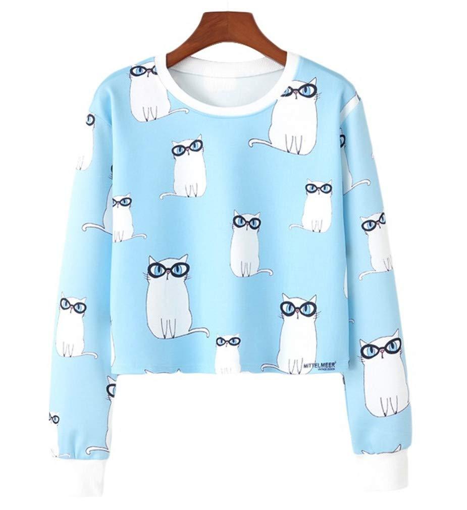 Vanbuy Womens Juniors Teens Cute Crewneck Long Sleeve Cat Print Crop Top Sweatshirt Sweater Pullover Z171-Glasses Cat-L