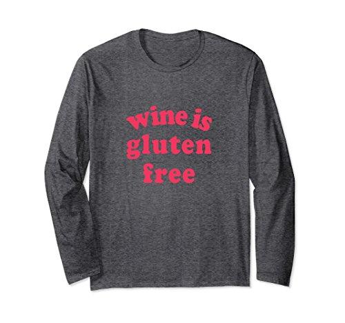 Unisex Wine is Gluten Free - Red Lettered Long Sleeve T-Shirt Medium Dark Heather