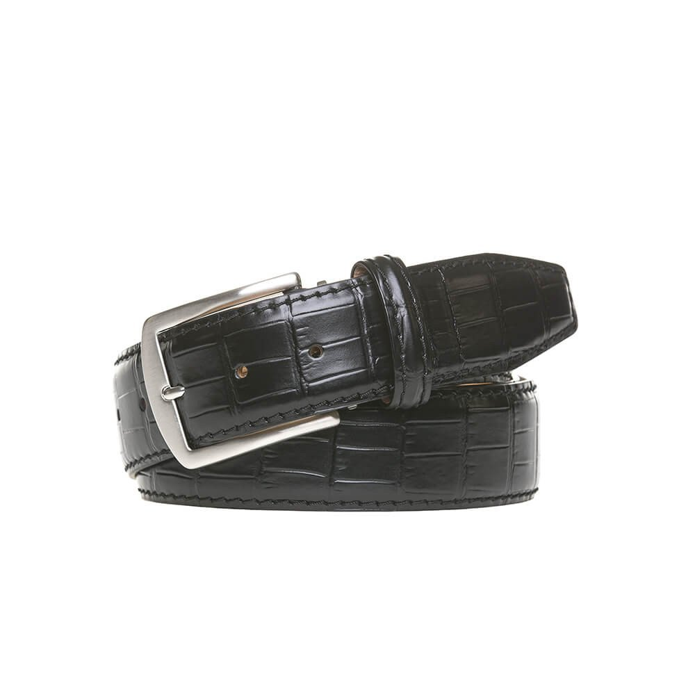 Black Italian Mock Gator Leather Belt by Roger Ximenez: Bespoke Maker of Fine Leather Goods