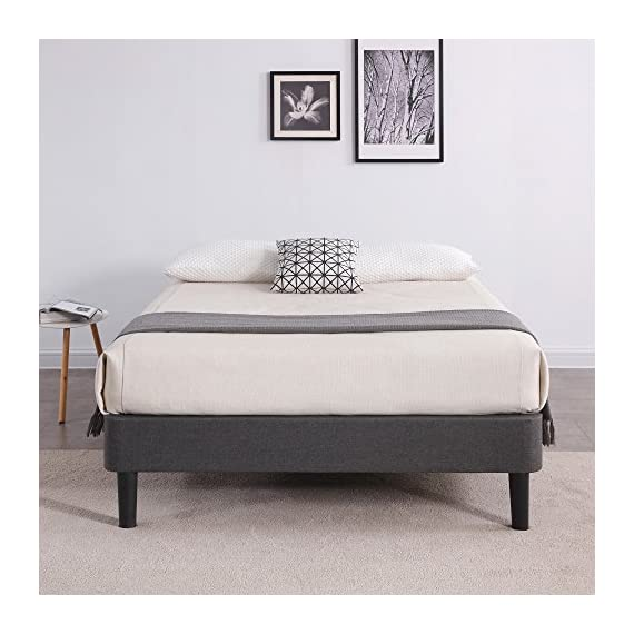 Classic Brands Claridge Upholstered Mattress Foundation | Platform Bed | Metal Frame with Wood Slat Support | Grey, Twin - 39 inch W x 75 inch L x 15 inch H Lightweight and durable upholstered mattress foundation that can be used as a foundation or a platform bed frame Steel frame with wood slat support System and Sturdy center support - bedroom-furniture, bedroom, bed-frames - 51xgPtsKeVL. SS570  -