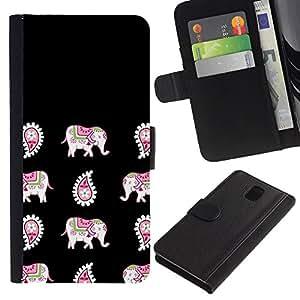 SAMSUNG Galaxy Note 3 III / N9000 / N9005 Modelo colorido cuero carpeta tirón caso cubierta piel Holster Funda protección - India Black Pattern Animal