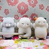 OVERMAL 3pcs Cute Mochi Squishy Cat Squeeze Healing Fun Kids Kawaii Toy Stress Reliever Decor