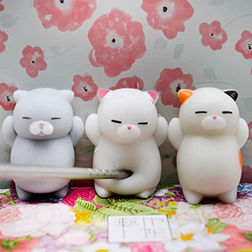 OVERMAL 3pcs Cute Mochi Squishy Cat Squeeze Healing Fun Kids Kawaii Toy Stress Reliever Decor