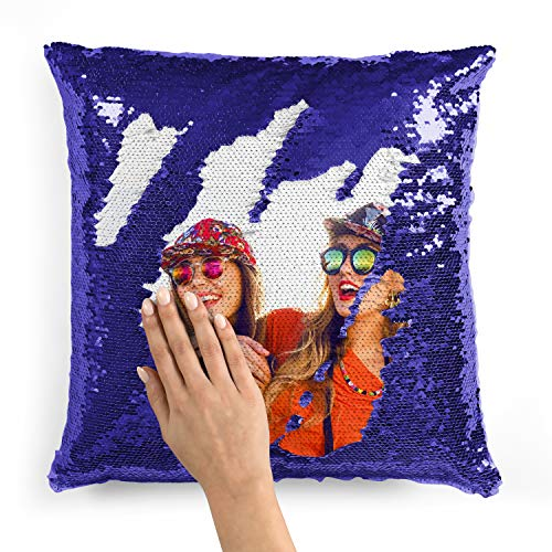 Custom Photo Sequin Pillow Cases | Blue Mermaid Sequin Pillow Case w Any Picture | Magic Reversible Throw Pillowcases - Decorative Cushion, Pillow Cover for Sofa Couch - Home Decor Personalized Gifts (Custom Covers Made Pillow)