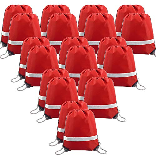 20 Pieces Red-Drawstrings-Bag-Backpack Bulk Reflective Sports Gym Sack Pack Cinch Bags -