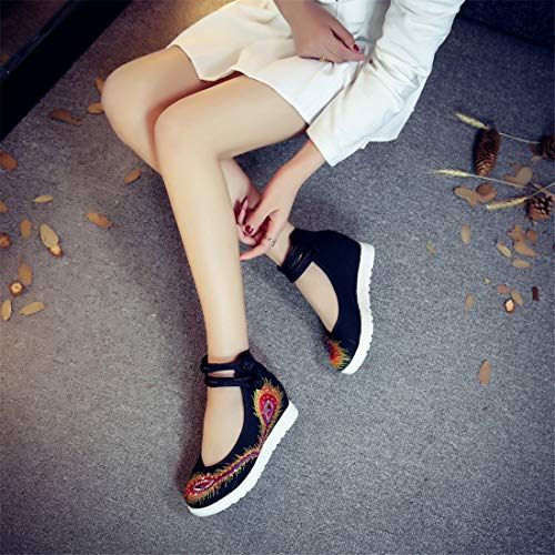 Shoes Embroidered in Black The Women's Espadrilles National High Shoes Ballet Wind Cloth Embroidered Flats and Shoes Slope zaExqZwq
