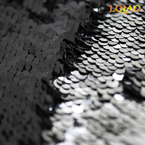 Best Color Dress Decoration 5 Way Sequin Stretch Two New Sequin Black Silver LQIAO Evening for Fabric Yard 0 Fabric Reversible Mermaid Flip Up U5f1wnBxq