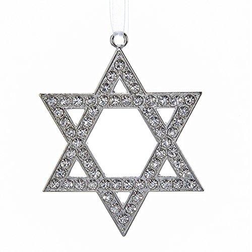 Silver Star Of David with Rhinestones Jewish Holiday Ornament (Jewish Ornament)