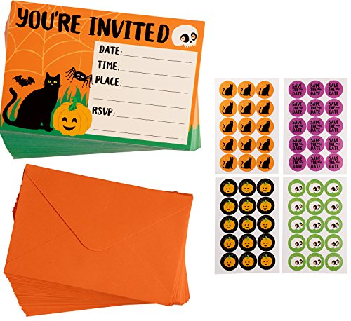 Halloween Invitation Cards - 60-Pack Halloween Party Invites, Fill-in Invitations with Envelopes and Seal Stickers, 4 x 6 Inches]()