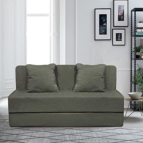 Aart Store High Density Foam 5X6 Feet Three Seater Sofa Cums Bed Furniture  Grey  Color