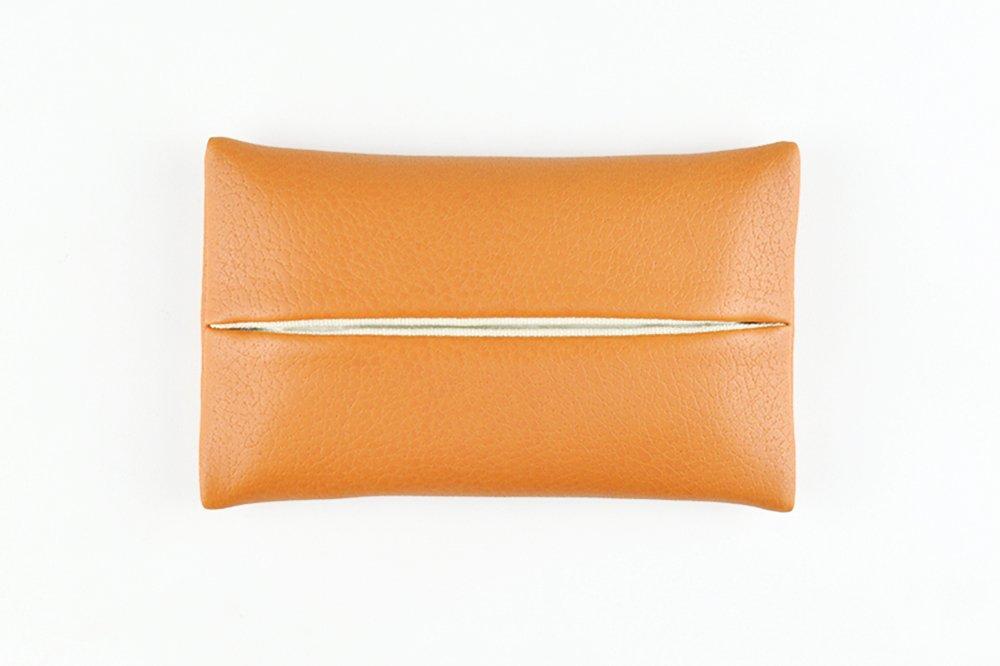 「Thing.Is」PU Leather Pocket Tissue Holder, Travel Tissue Cover, Travel Tissue Holder, Portable Tissue Case, Tissue Pouch, Orange
