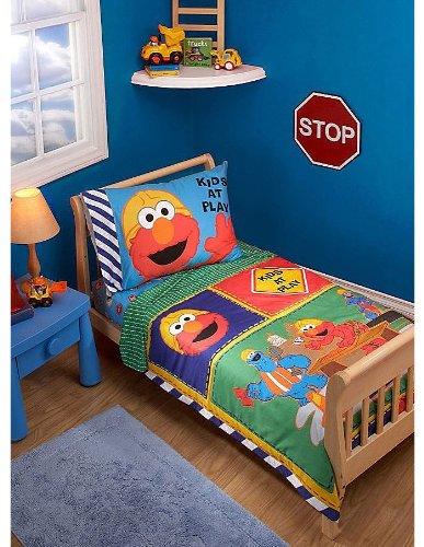 Elmo Sesame Street Toddler Bedding Set - 4pc Construction Crib Bed Set