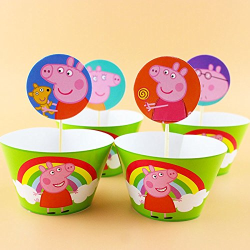 Astra Gourmet Set of 24 Peppa Pig Cupcake Wrappers and Toppers, Pig Cupcake Wrappers Toppers Kit for Kids Birthday Party Baby Shower