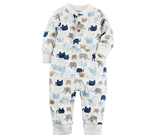 Carter's Baby Boys' Elephant French Terry Jumpsuit Newborn (Jumpsuit Terry)