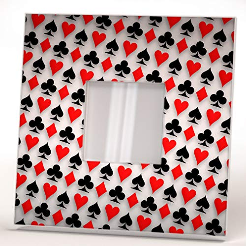 Deck Poker Cards Symbols Wall Framed Mirror Decor Casino theme Fan Design Art Printed Home Gift