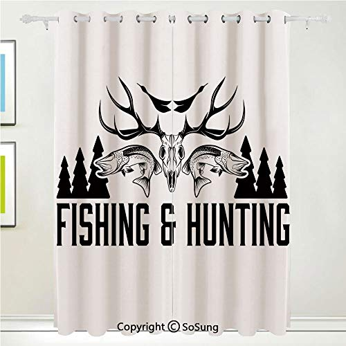 Hunting Decor Grommet Blackout Window,Hunting and Fishing Vintage Emblem Design Antler Horns Mallard Pine Tree,for Bedroom&Living Room&Patio Sliding Doors,2 Panels Set,108 X 84 Inches,Black White