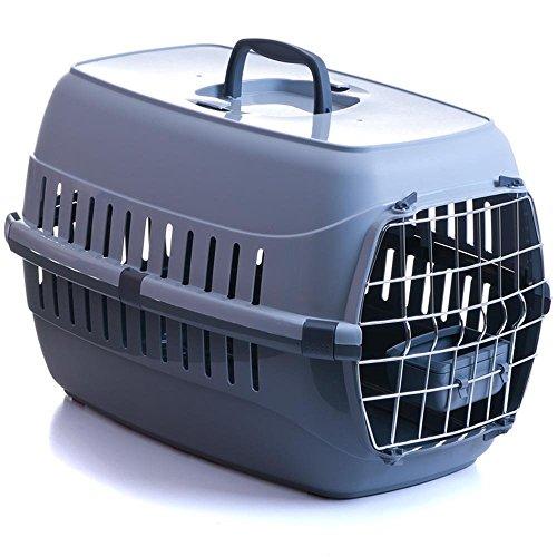 Transportbox für Katzen mit Metalltür und Napf 58x35x37cm bis 8 kg grau