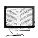 Reading Magnifier, SOONHUA Hands-Free 3X Magnifier Full-Page Large Sheet Magnifying Glass with LED Light & Neck Cord Illuminated Foldable Desktop Lamp