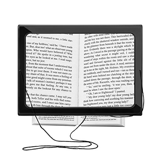 Reading Magnifier, SOONHUA Hands-Free 3X Magnifier Full-Page Large Sheet Magnifying Glass with LED Light & Neck Cord Illuminated Foldable Desktop - Line See Glasses