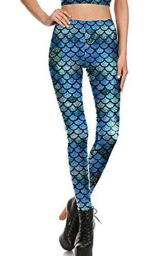 Women's Mermaid Fish Scales Printed Skinny Stretch Legging Pants