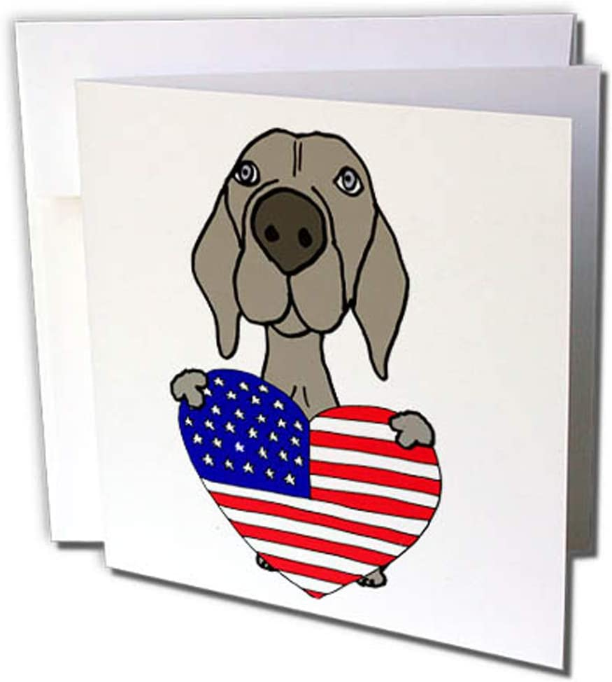3drose Gc 256436 2 6 X 6 Inch Funny Cute Weimaraner Dog With American Flag Heart Greeting Card Set Of 12 Amazon Co Uk Office Products