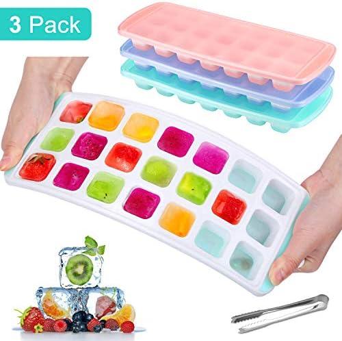 MOSOTECH 21-Fach Eiswürfelform, 3 Stück Silikon Eiswürfelbehälter Mit Deckel und Eisclip, Stapelbar und Spülmaschinenfest Eiswürfelformen, LFGB Zertifiziert und BPA Frei