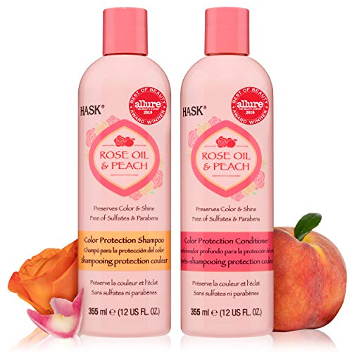 HASK ROSE OIL + PEACH Shampoo and Conditioner Set Color Protecting – Color safe, gluten-free, sulfate-free, paraben-free…