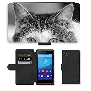 PU Cuir Flip Etui Portefeuille Coque Case Cover véritable Leather Housse Couvrir Couverture Fermeture Magnetique Silicone Support Carte Slots Protection Shell // M00155829 Adorable animal hermoso // Sony Xperia M4 Aqua