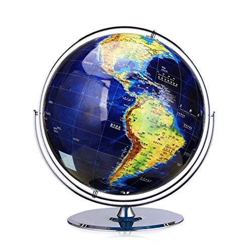 ZQYR Gift# Oversized Globe Rotating World Map   Globe for Educational  16 Inch   Blue   Stainless Steel Bracket   Home Office Classroom Desk,Model: GS1198,D