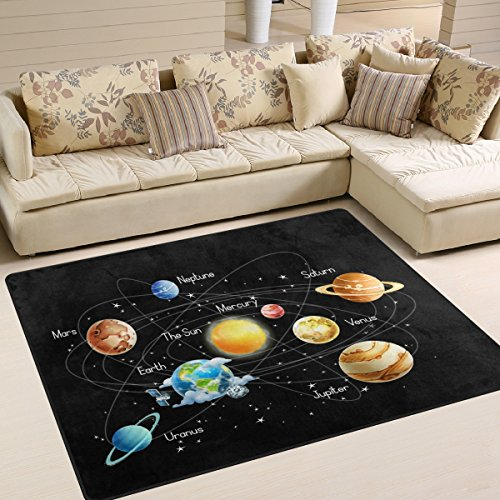 ALAZA Solar System Planet Sun Universe Star Black Area Rug Rugs for Living Room Bedroom 7' x 5' by ALAZA