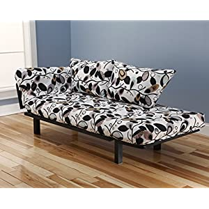Best Futon Lounger - Versatile Positions - Sit Lounge Sleep - Smaller Size Piece of Furniture is Perfect for Bedroom Studio Apartment Guest Room Covered Patio Porch (TANGLEWOOD)
