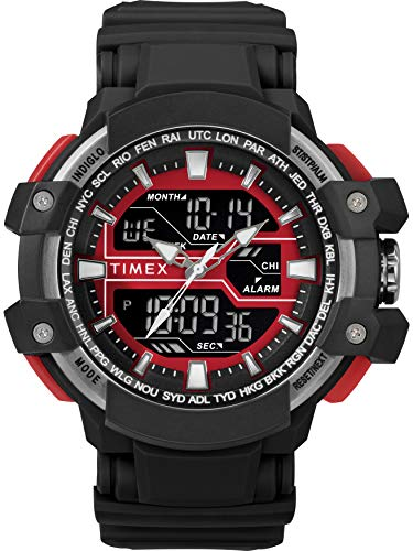 (Timex Men's TW5M22700 DGTL 53mm Big Combo Black/Red/Negative Resin Strap Watch)