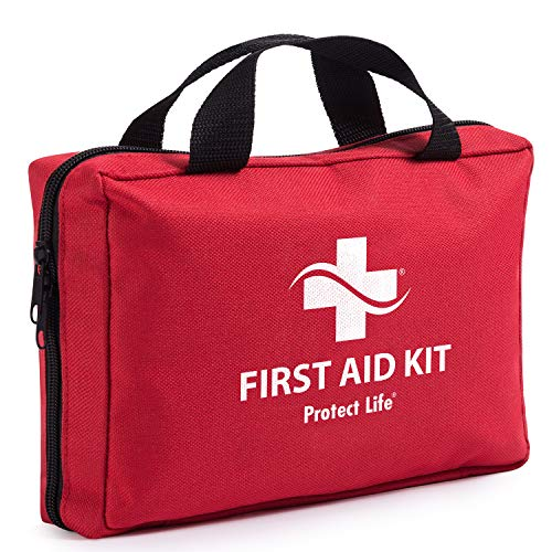 Protect Life First Aid Kit - 200 Piece - for Car, Home, Travel, Camping, Office or Sports | Red Bag Fully stocked with Medical Supplies for Emergency and Survival