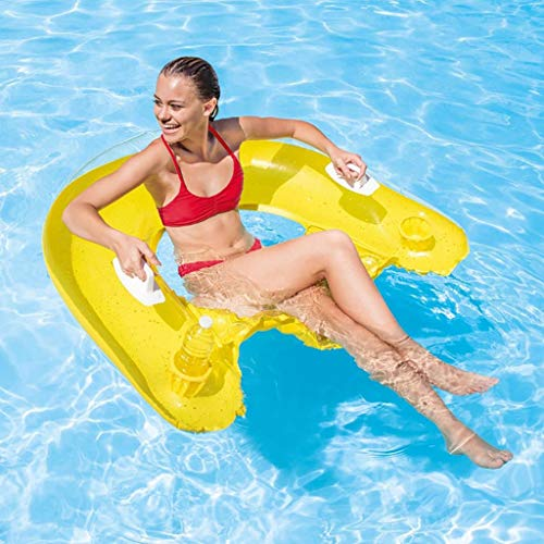Transser Inflatable Pool Float, 3 in 1 Multi- Purpose Inflatable Floating Row Floating Bed, Recliner &Lounge &Drifter, Swimming Pool Lounger, Summer Pool Party for Adults & Kids (Random Color)